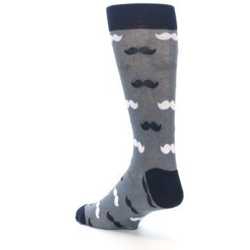 Image of Grey Black White Mustache Men's Dress Socks (side-2-back-15)