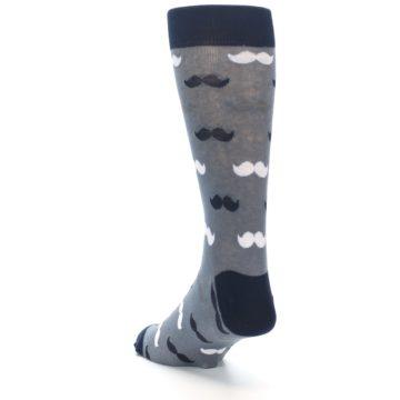 Image of Grey Black White Mustache Men's Dress Socks (side-2-back-16)