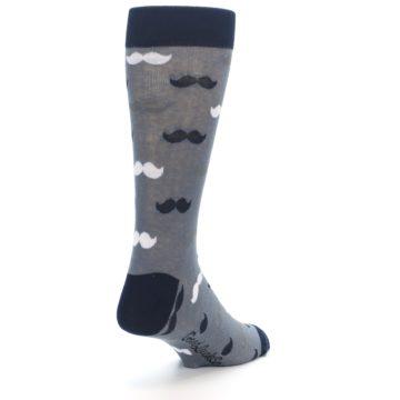 Image of Grey Black White Mustache Men's Dress Socks (side-1-back-21)
