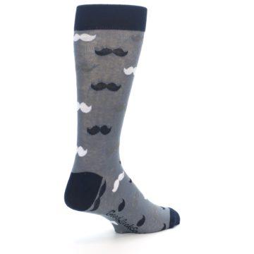 Image of Grey Black White Mustache Men's Dress Socks (side-1-back-22)