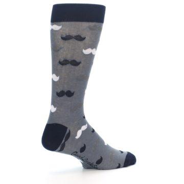 Image of Grey Black White Mustache Men's Dress Socks (side-1-23)