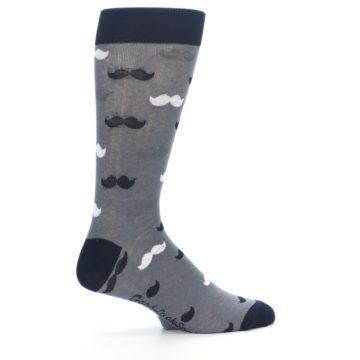 Image of Grey Black White Mustache Men's Dress Socks (side-1-24)