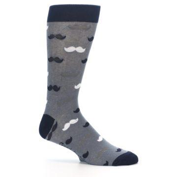 Image of Grey Black White Mustache Men's Dress Socks (side-1-25)