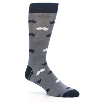 Image of Grey Black White Mustache Men's Dress Socks (side-1-26)