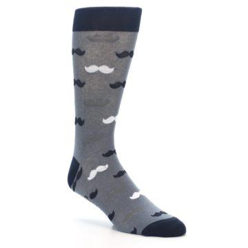 Image of Grey Black White Mustache Men's Dress Socks (side-1-27)