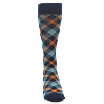 Image of Navy Orange Aqua Plaid Men's Dress Socks (front-04)