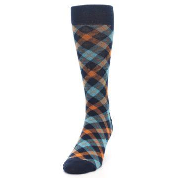 Image of Navy Orange Aqua Plaid Men's Dress Socks (side-2-front-06)