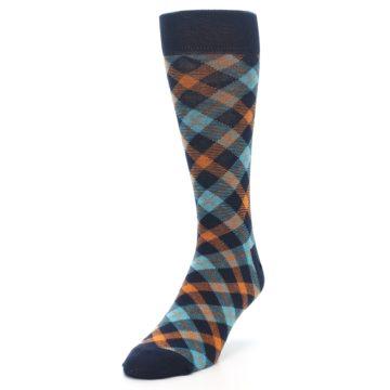 Image of Navy Orange Aqua Plaid Men's Dress Socks (side-2-front-07)