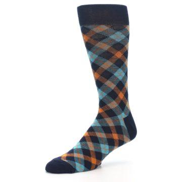 Image of Navy Orange Aqua Plaid Men's Dress Socks (side-2-09)