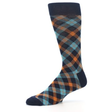 Image of Navy Orange Aqua Plaid Men's Dress Socks (side-2-10)