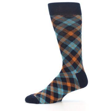 Image of Navy Orange Aqua Plaid Men's Dress Socks (side-2-11)