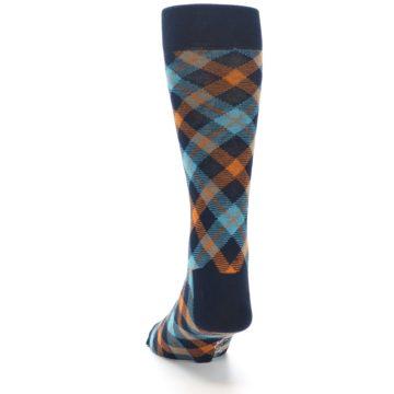 Image of Navy Orange Aqua Plaid Men's Dress Socks (back-17)