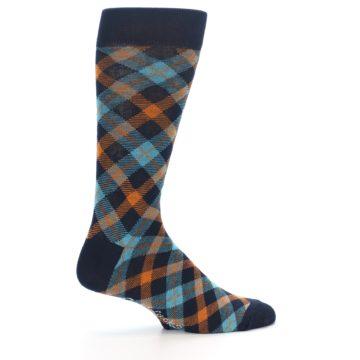 Image of Navy Orange Aqua Plaid Men's Dress Socks (side-1-24)