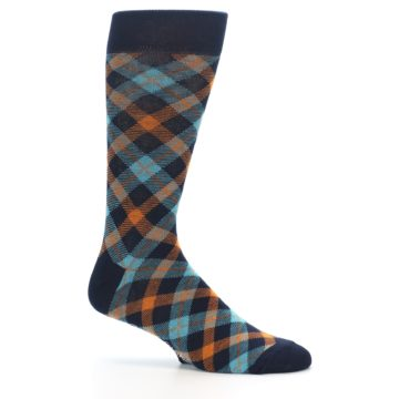 Image of Navy Orange Aqua Plaid Men's Dress Socks (side-1-25)