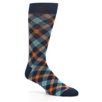 Image of Navy Orange Aqua Plaid Men's Dress Socks (side-1-26)