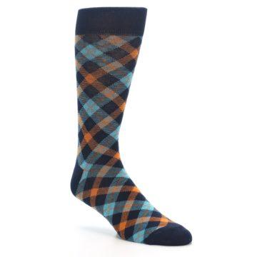 Image of Navy Orange Aqua Plaid Men's Dress Socks (side-1-27)