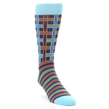 Image of Light-Blue Navy Orange Plaid Men's Dress Socks (side-1-front-02)