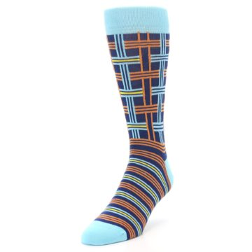 Image of Light-Blue Navy Orange Plaid Men's Dress Socks (side-2-front-07)