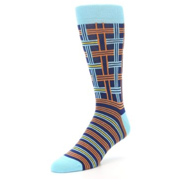Image of Light-Blue Navy Orange Plaid Men's Dress Socks (side-2-front-08)