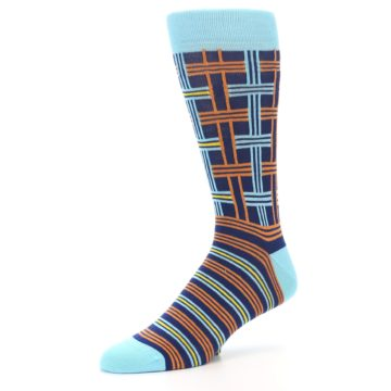 Image of Light-Blue Navy Orange Plaid Men's Dress Socks (side-2-09)