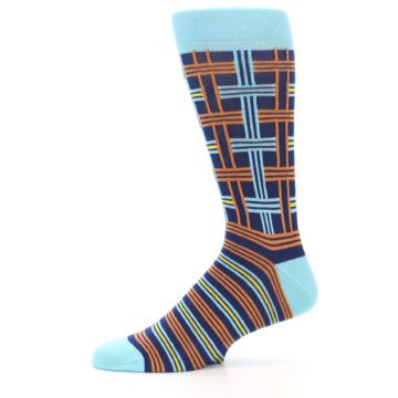 Image of Light-Blue Navy Orange Plaid Men's Dress Socks (side-2-11)