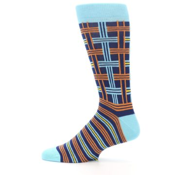 Image of Light-Blue Navy Orange Plaid Men's Dress Socks (side-2-12)