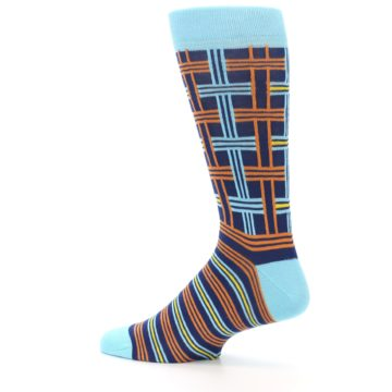 Image of Light-Blue Navy Orange Plaid Men's Dress Socks (side-2-13)