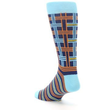 Image of Light-Blue Navy Orange Plaid Men's Dress Socks (side-2-back-15)