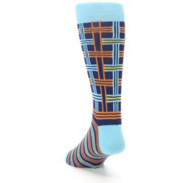 Image of Light-Blue Navy Orange Plaid Men's Dress Socks (side-2-back-16)