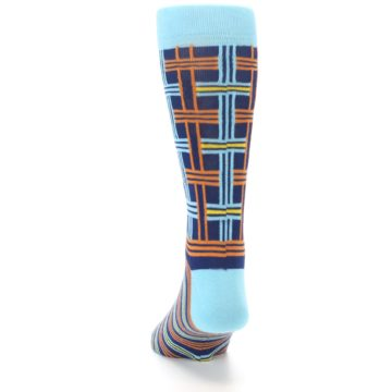 Image of Light-Blue Navy Orange Plaid Men's Dress Socks (back-17)