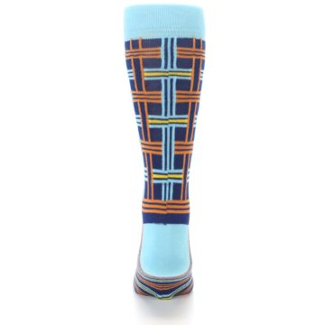 Image of Light-Blue Navy Orange Plaid Men's Dress Socks (back-18)