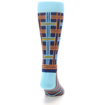 Image of Light-Blue Navy Orange Plaid Men's Dress Socks (back-19)