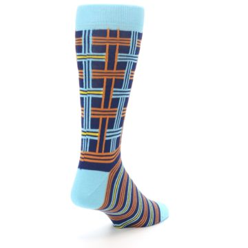 Image of Light-Blue Navy Orange Plaid Men's Dress Socks (side-1-back-21)