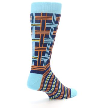 Image of Light-Blue Navy Orange Plaid Men's Dress Socks (side-1-back-22)