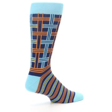 Image of Light-Blue Navy Orange Plaid Men's Dress Socks (side-1-23)