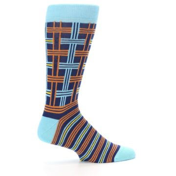 Image of Light-Blue Navy Orange Plaid Men's Dress Socks (side-1-24)