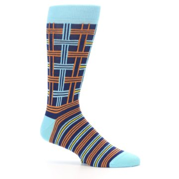 Image of Light-Blue Navy Orange Plaid Men's Dress Socks (side-1-25)
