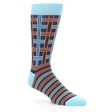 Image of Light-Blue Navy Orange Plaid Men's Dress Socks (side-1-26)