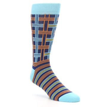 Image of Light-Blue Navy Orange Plaid Men's Dress Socks (side-1-27)