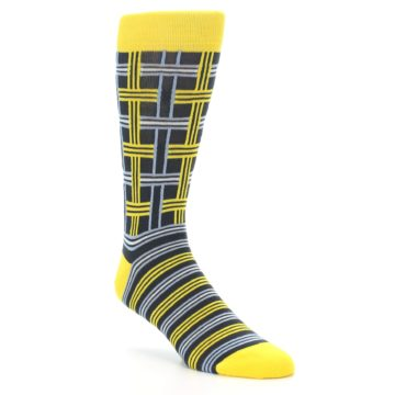 Yellow and Grey Plaid Socks Statement Sockwear