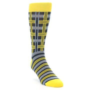 Image of Yellow Grey Plaid Men's Dress Socks (side-1-front-02)