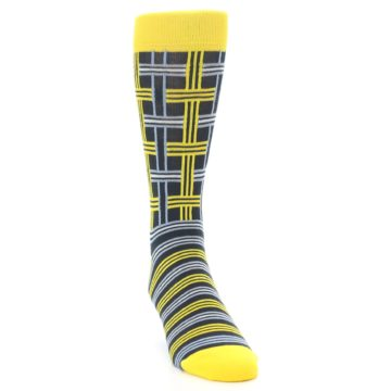 Image of Yellow Grey Plaid Men's Dress Socks (side-1-front-03)