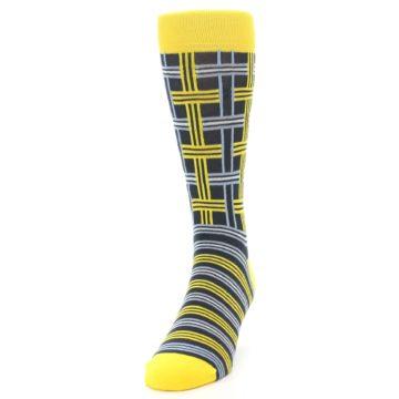 Image of Yellow Grey Plaid Men's Dress Socks (side-2-front-06)