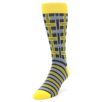 Image of Yellow Grey Plaid Men's Dress Socks (side-2-front-07)