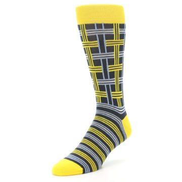 Image of Yellow Grey Plaid Men's Dress Socks (side-2-front-08)