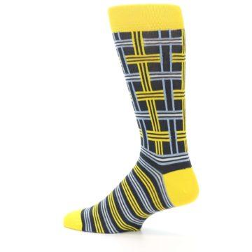 Image of Yellow Grey Plaid Men's Dress Socks (side-2-13)