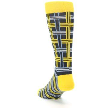 Image of Yellow Grey Plaid Men's Dress Socks (side-2-back-16)