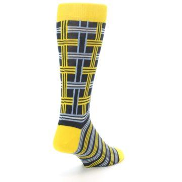 Image of Yellow Grey Plaid Men's Dress Socks (side-1-back-21)