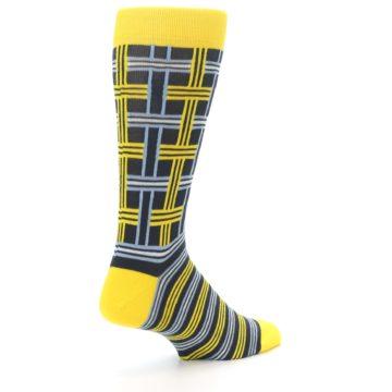 Image of Yellow Grey Plaid Men's Dress Socks (side-1-back-22)