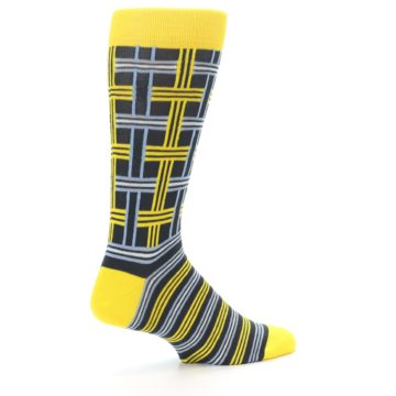Image of Yellow Grey Plaid Men's Dress Socks (side-1-23)